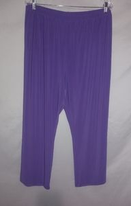 Antthony Purple Nylon Stretch Pants 3X Plus Petite